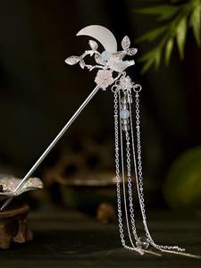 Crystal Headpiece Hairpin Hair-Accessories Hanfu-Tiara Chinese Women Jewelry Flower Leaf