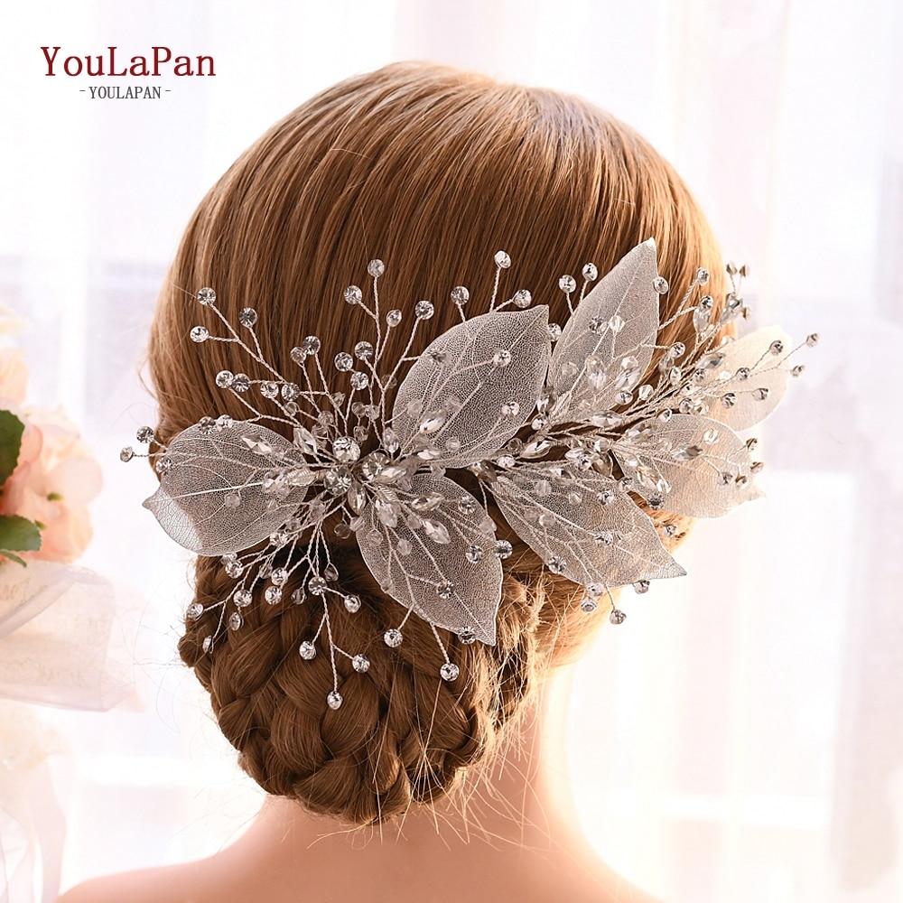 YouLaPan Wedding Crown And Tiaras Leaf Crown Sliver Wedding Headband Bridal Headpieces Rhinestone Bridal Tiara For Women HP285