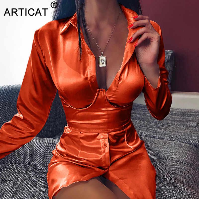 Articat/черное сексуальное мини-платье-рубашка, женские офисные женские короткие осенние платья с длинными рукавами, отложной воротник, вечерние Клубные платья со шнуровкой