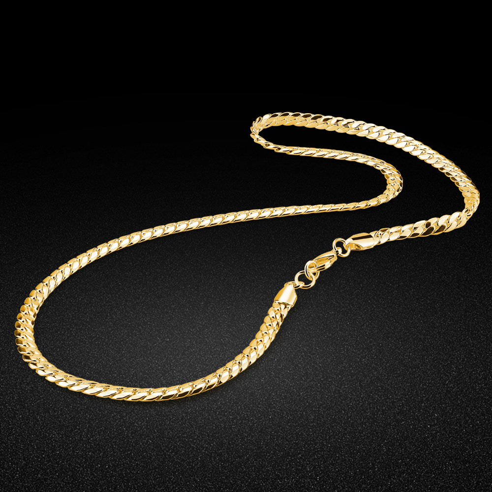 New 925 Silver Men's Necklace Stylish Horse Whip Design Necklace Gold Chain Size 50-56cm Hip Hop Style Accessories man jewelry