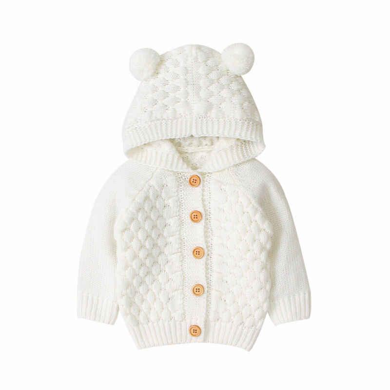 유아 아기 키즈 소년 소녀 니트 코트 자켓 귀 후드 아웃웨어 겨울 블라우스 스웨터 니트 풀오버 카디건 따뜻한 옷