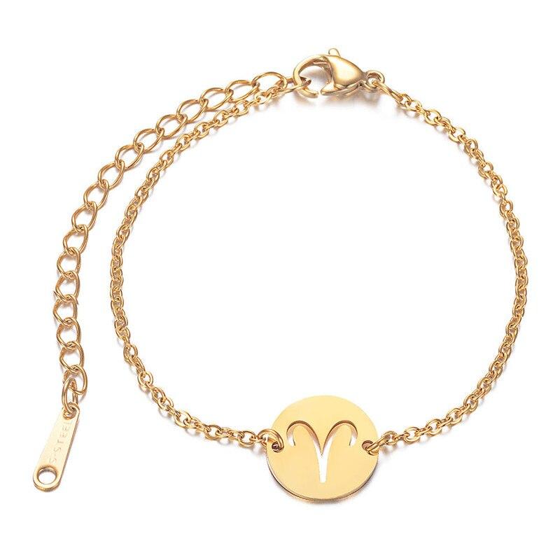 Титановая сталь двенадцать созвездий, браслеты с брелоками для женщин, золото Цвет звено цепи браслеты, ювелирное изделие, подарок