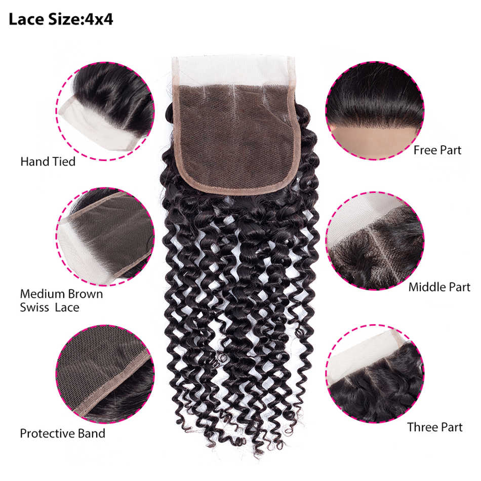MOBOK Moğol Kinky Kıvırcık Örgü Demetleri Ile Kapatma İnsan Saç örgü Uzatma Doğal Renk Remy Saç Örgü Siyah Kadınlar Için