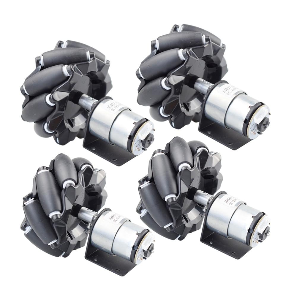 4 pcs set 96 milimetros omni roda mecanum com 12v velocidade do encoder do motor para