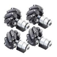 4pcs/set 96mm Omni Mecanum Wheel with 12V Speed Encoder Motor for Arduino Rasbperry Pie DIY Robot RC Car STEAM Toy