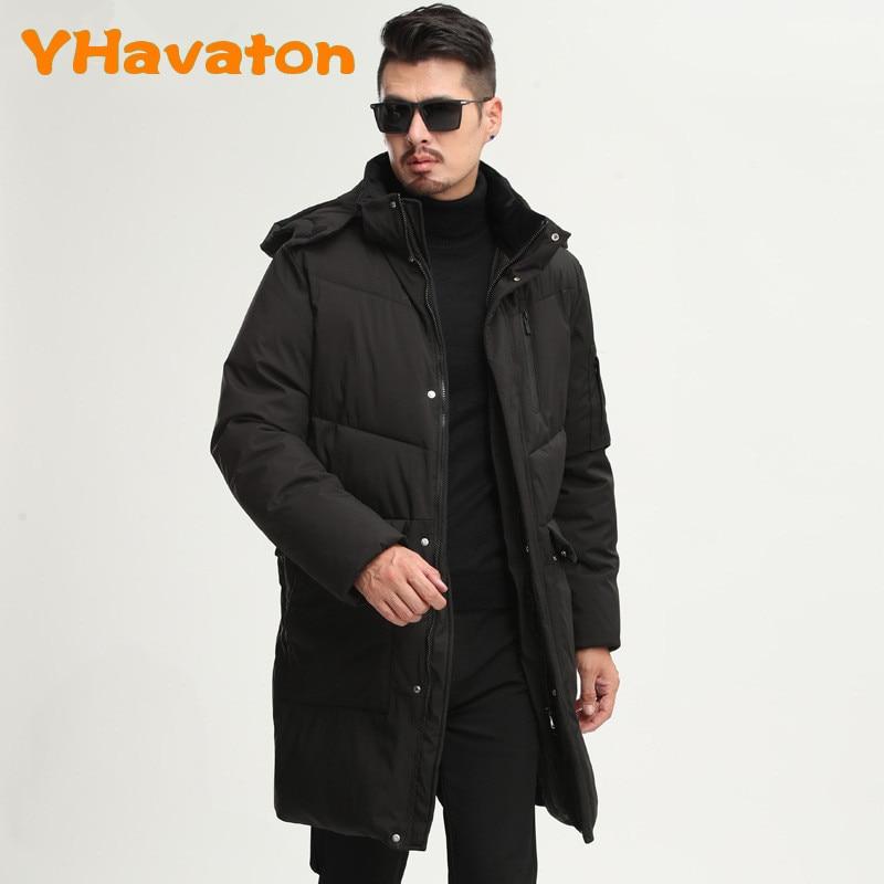 3XL Winter Warm Cotton Coat Jackets Black Coat  Long Jacket Mens Casual Hooded Coats Hat Detachable YHavaton