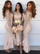Сексуальные Платья Невесты Vestido Де Casamento Лонго Русалка Розовый С Плеча С Длинным Рукавом Атласные Кружева Платье