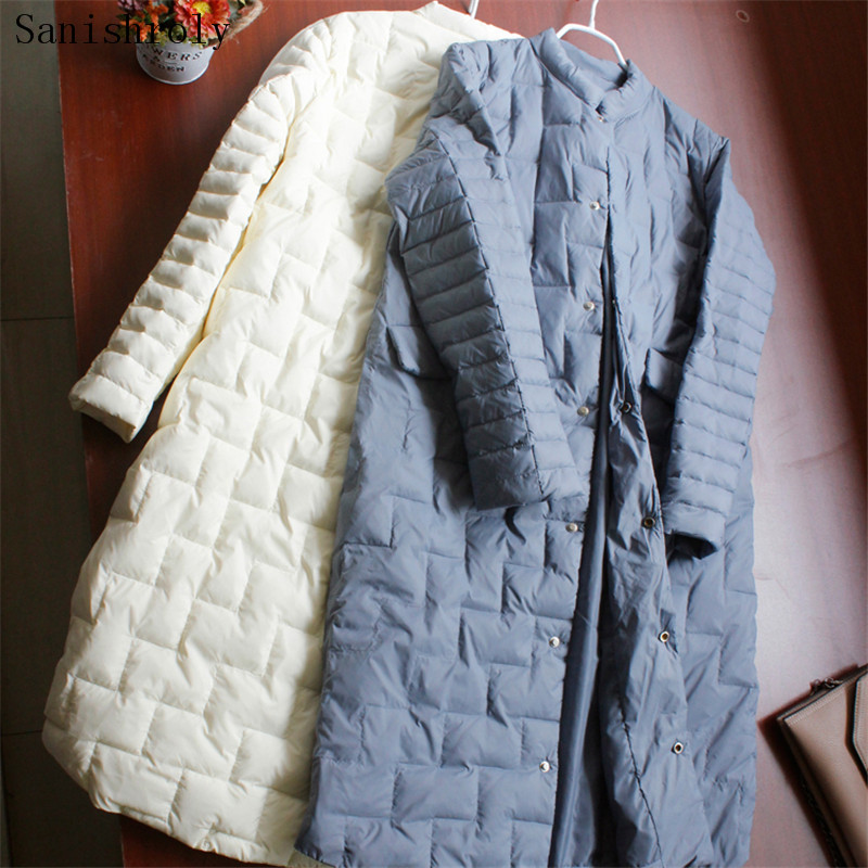 Sanishroly New Autumn Winter Women White Duck   Down     Coats   Ultra Light   Down     Coat   Parka Female Slim Midi Long Jacket Plus Size S721