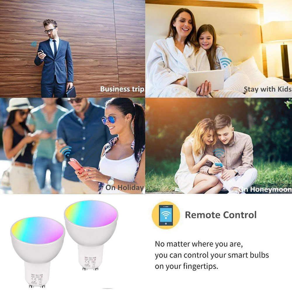 Projecteur Led lampe de ampoule Led wi-fi intelligente AC85V-265V RGBW gradation 6W E27 E26 GU10 Gu5.3 travail avec Google Home Smart WIFI projecteurs