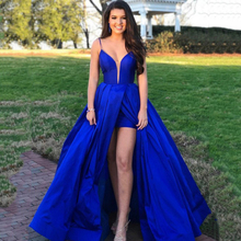 Spaghetti Straps Royal Blue Prom Dress Front Slit Satin Evening Formal Party Dresses vestido de noiva azul