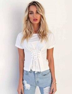 Image 5 - 2019 חדש אופנה נשים T חולצה מקרית רצועת על חולצה, קצר מעיל, תחתון חולצה בגדים