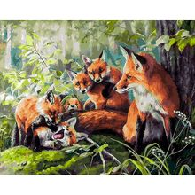 Gatyztory Frame Fox Paint By Numbers For Adults Kids Handpainted Animal Oil Painting Canvas Drawing DIY Gift Home Wall Decor 60× image
