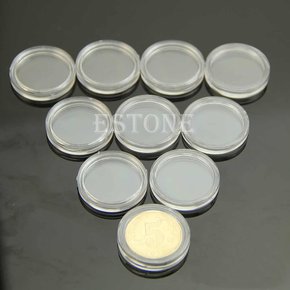 New 10pcs 21mm Applied Clear Round Cases Coin Storage Capsules Holder Round Plastic
