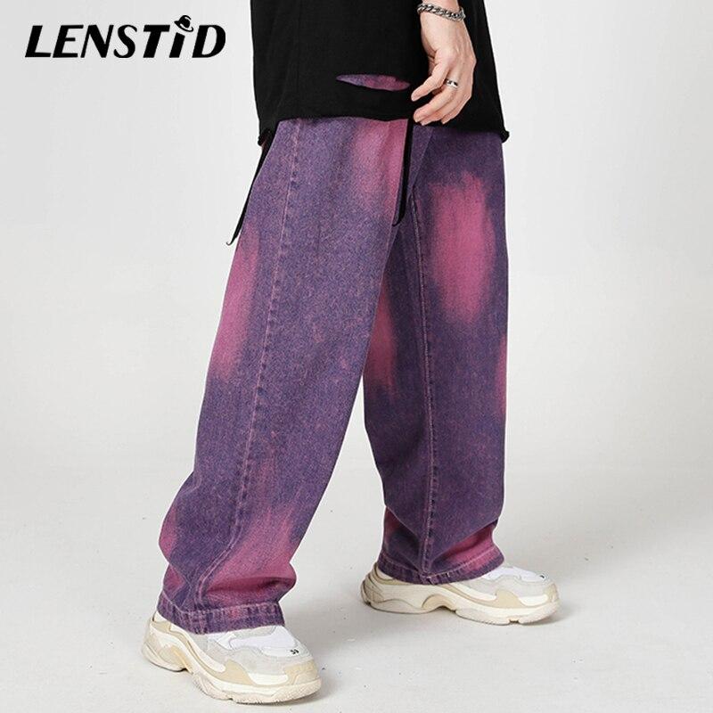 LENSTID 2020 Hip Hop Tie Dye Baggy Denim Pants Men Streetwear Harajuku Water Washed Jeans Autumn Hipster Trousers Brand Clothing