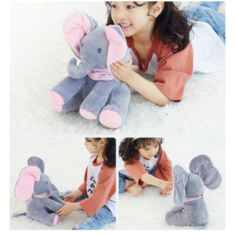 Stuffed Animal Toy Plush Elephant Doll Play Electric Music Education 1