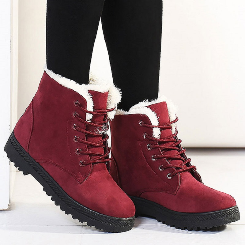 Women Snow Boots Winter Warm Plush Insole Square Heel Ankle Boots Lace-Up Casual Flock Women Shoes Plus Size 44 26