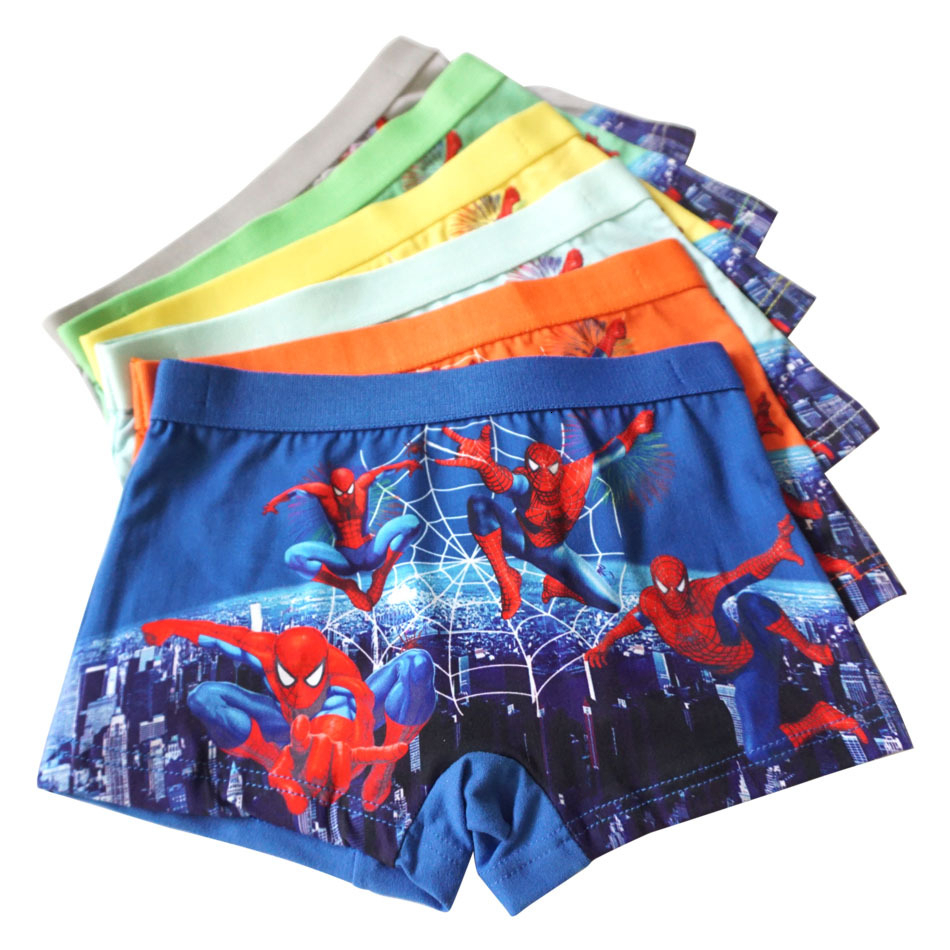 Kids Boys Underwear Cotton Spider-Man Boxer Briefs Boys Close Wholesale Underwe