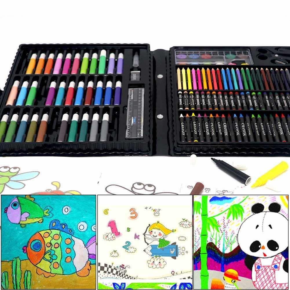 150 pçs/set Desenho Kit de Ferramentas com Caixa de Pincel de Pintura Arte Marcador Caneta Cor Da Água do Pastel Crianças Dom JR Ofertas