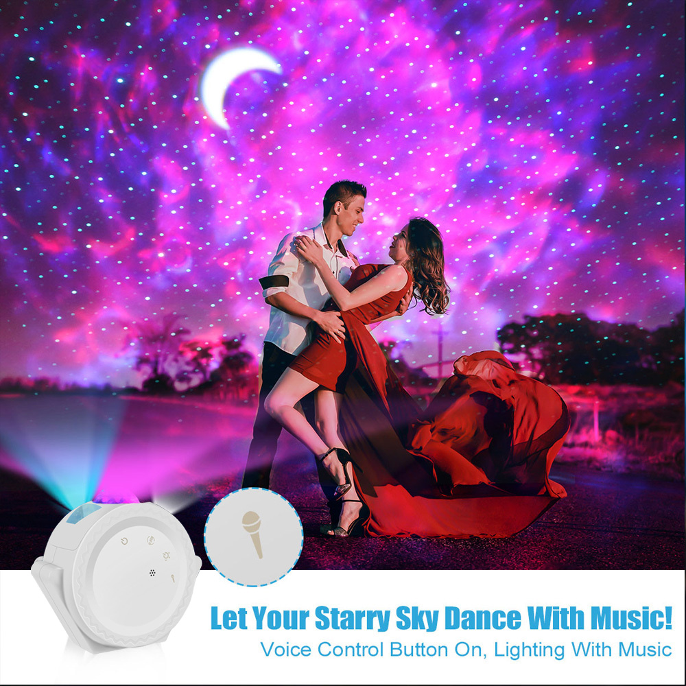 Starry Sky Projector 6 Colors Ocean Waving Light LED Nebula Cloud Night Light 360 Degree Rotation Galaxy projection Lamp for Kid (Changeable)