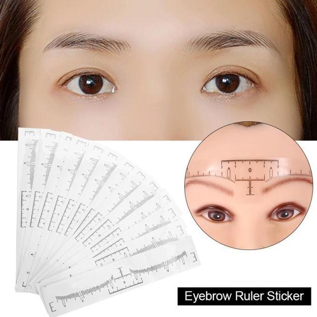 NEW 10PC Reusable Semi Permanent Eyebrow Ruler Eye Brow Measure Tool Eyebrow Guide Ruler Microblading Calliper Stencil Makeup