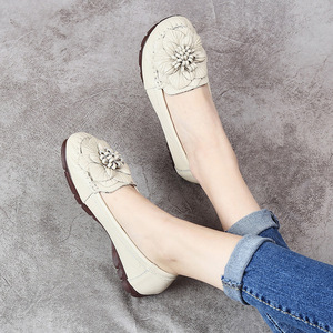 Image 3 - GKTINOO 2020 Fashion Women Shoes Genuine Leather Loafers Women Casual Shoes Soft Comfortable Shoes Flowers Women Flats