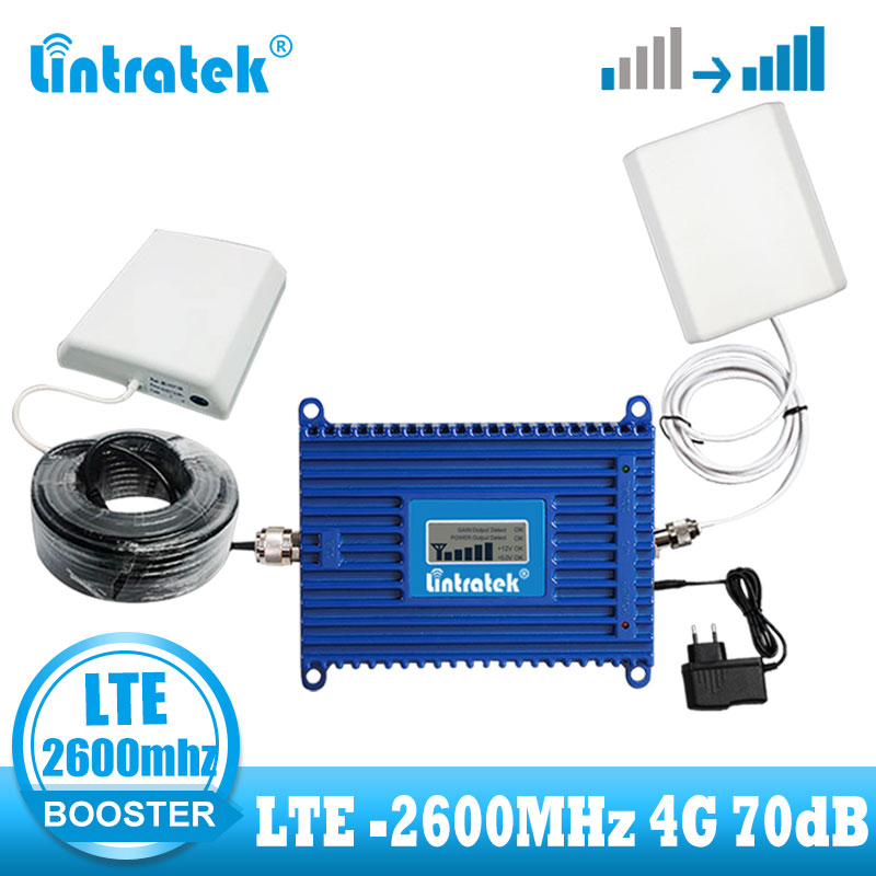 2018 Lintratek 4G LTE Signal Repeater Gain 70dB 4G LTE 2600Mhz Mobile Signal Booster 2600 Lte Cell Phone Signal Amplifier