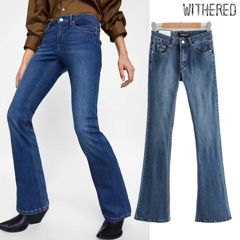 Withered 2019 England Vintage Skinny Flare Jeans Woman High Waist Jeans Push Up Sexy Blue Flare Jeans Boyfriend Jeans For Women