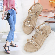 Artificial PU Women Sandals Fashion Flat Slip-on Women #8216 s Shoes Basic Set of Feet Slotted Flat Gladiator Flat with Rome Open TPR cheap OLOME Artificial leather Bonded Leather Low (1cm-3cm) Casual Elastic band Fits true to size take your normal size Back Strap