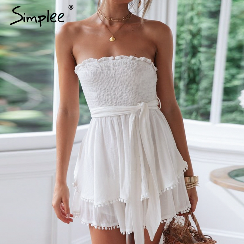 Simplee Off Shoulder Ruched Women Linen Jumpsuit Summer Tassel White Cotton Plus Size Romper Sexy Holiday Beach Overall Jumpsuts