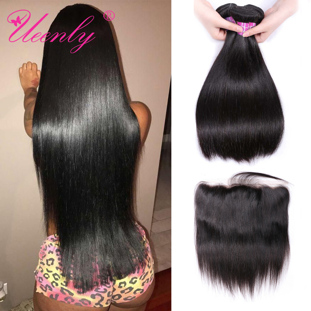 UEENLY Hair-Bundles Closure Frontal Straight Brazilian with Non-Remy 13x4