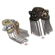 Women Kids Handmade Shoulder Badge Rhinestone Beaded Metal Tassels Epaulettes