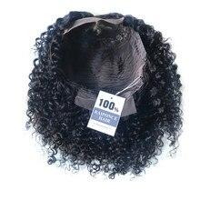 RAIPONCE – perruque Bob Lace Wig brésilienne naturelle, cheveux crépus bouclés, 4x4, pour femmes africaines