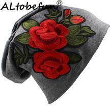 ALTOBEFUN kwiatowy stylowa czapka Rose cienkie kapelusz i czapki damskie kapelusz czapka moda marka jesień zima dziewczyna czapki dla kobiet BHT049 tanie tanio COTTON Poliester WOMEN Dla dorosłych Na co dzień Floral Skullies czapki