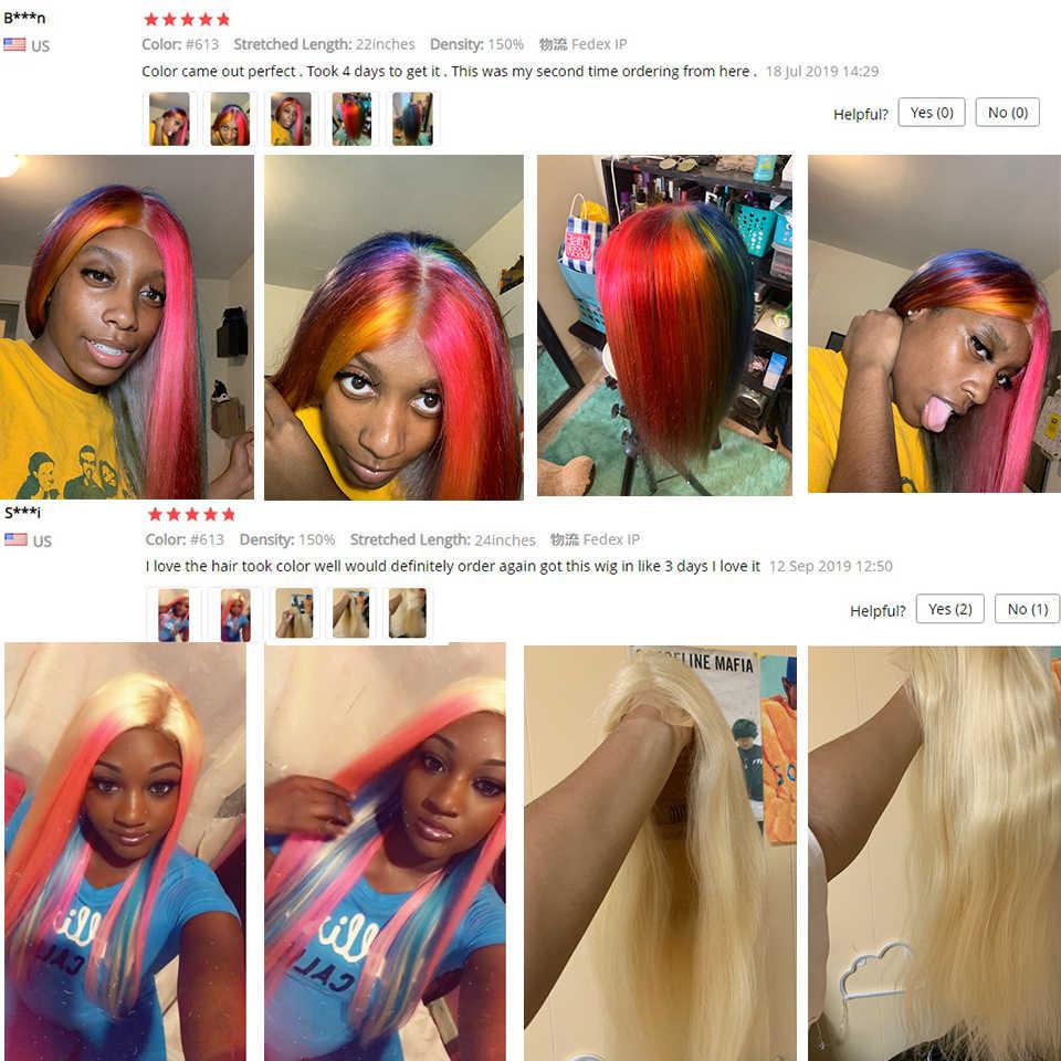 613 Blonde Kant Voor Pruik Braziliaanse Straight Menselijk Haar Pruiken Voor Vrouwen Midden Deel 13*1 Lace Front Pruik 613 Honing Blonde Remy