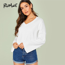 ROMWE Drop Shoulder Bell Sleeve Rib-Knit White Tshirt Women Clothing Autumn Casual  V Neck T Shirt Minimalist Long Sleeve Tops layered ruffle sleeve rib knit tee