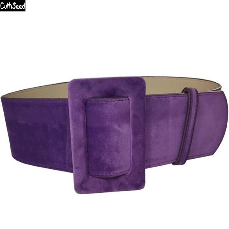 Cultiseed Gold Velvet Wide Waist Belt Cummerbunds Fashion Belt For Women Female Solid Waistband Waist Belt For Woolen Coat