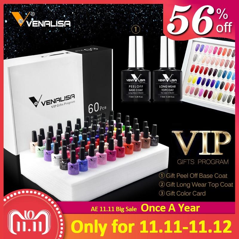 new 60 fashion color Venalisa uv nail gel polish kit vernish color gel polish for nail art design whole set nail gel learner kit-in Nail Gel from Beauty & Health