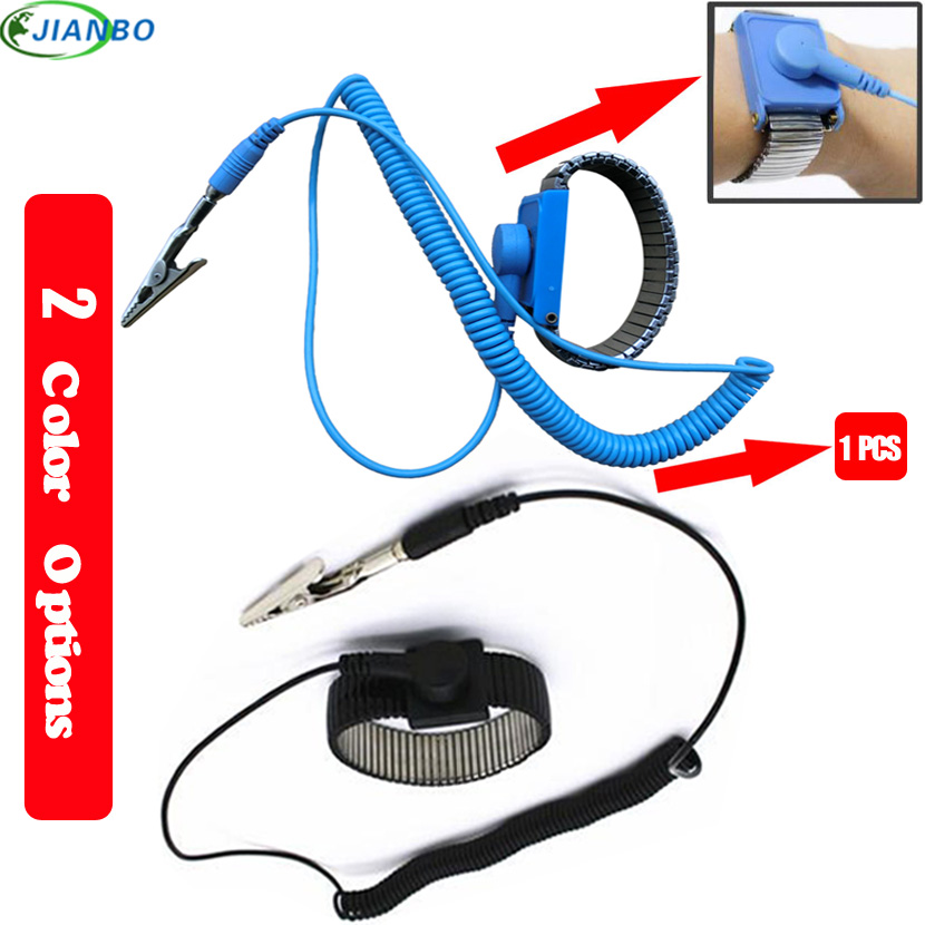 Bracelet Metal Antistatic Adjustable Wired Clean Room ESD Wristband Discharge Electronic Work Anti-static Wrist Band Strap Blue