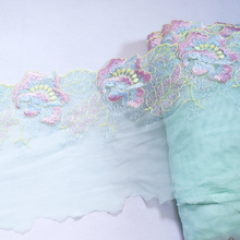 1meter 19cm Wide White Mesh Red flowers embroidered lace trims Lingerie bra Dress Sleeve decoration DIY  embroidery Lace Fabrics