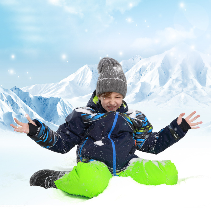 Boy Ski Suit Winter Outdoor Sports Waterproof Snowboard Suit Jacket Snow Pants Children Skiing Set Hooded Warm and Windproof in Snowboarding Sets from Sports Entertainment