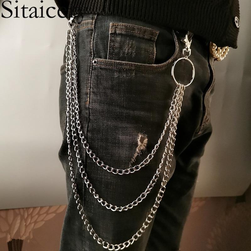 Sitaicery, 2021, панк, уличная цепочка для брюк, для женщин, мужчин, металлический кошелек, ремень, цепь, хипстер, брелок, штаны, брелок, хип-хоп ювели...