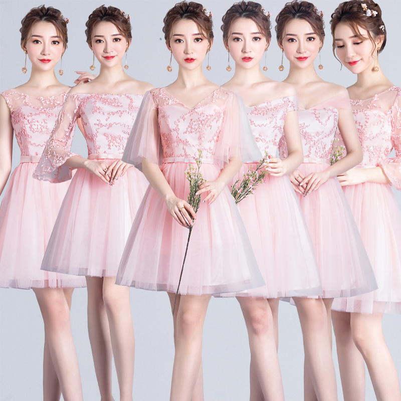 Pink Bridesmaid Dress Short Plus Size Tulle Dress Elegant Short Frocks New Years Eve Dress Prom Summer Dresses Graduation Party