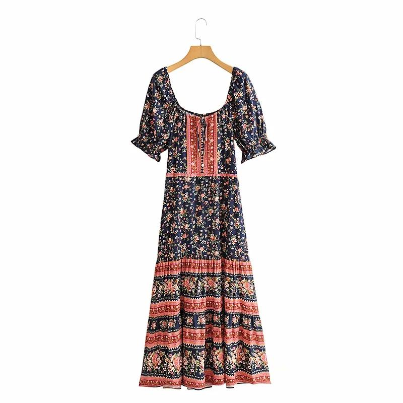 Женское платье макси gypsylady темно синее с цветочным принтом