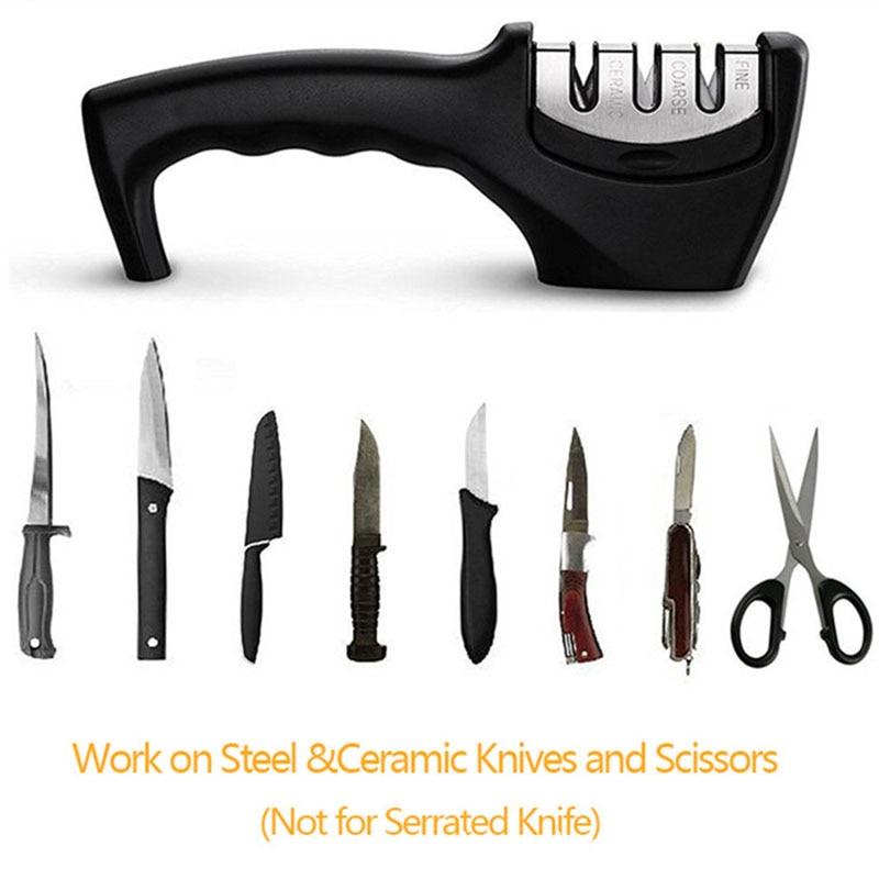 Knife Sharpener Stainless Steel 3 Stages Professional Kitchen Tool Sharpening Stone Grinder Knives Whetstone Diamond Sharpener 5