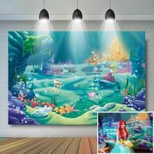 Sob o fundo do mar sereia festa de aniversário decoração castelo azul mar grama escudo fundo criança crianças bebê aniversário banner