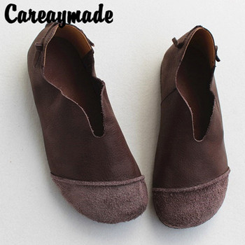 Careaymade-Genuine Leather Vintage women's shoes,soft sole single shoes,top layer cowhide skid-proof breathable leisure shoes