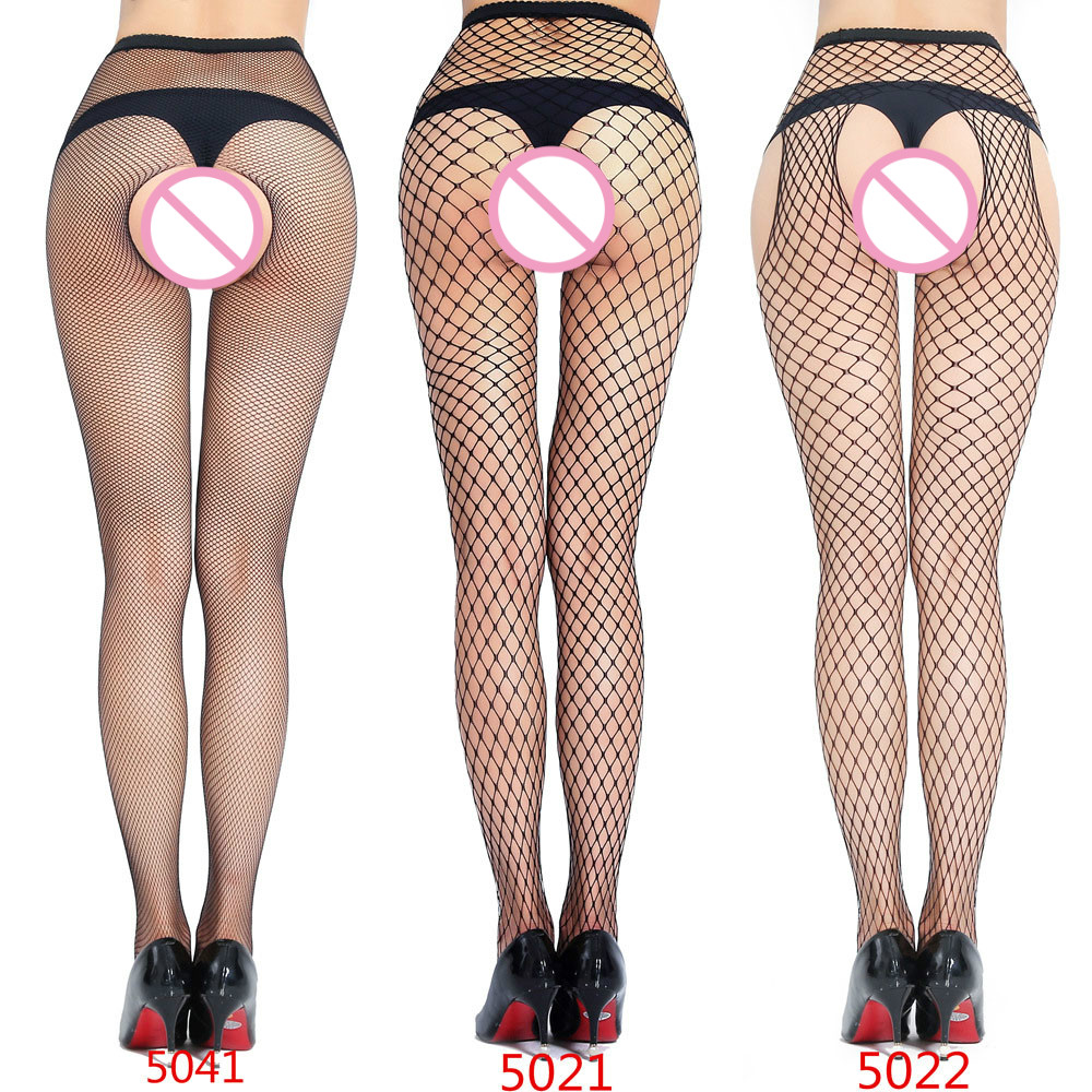 Sexy Lingerie Hot Erotic Plus Size Pantyhose Mesh Net Single Open Pantyhose Before And After Pantyhose Three-hole Mesh Pantyhose