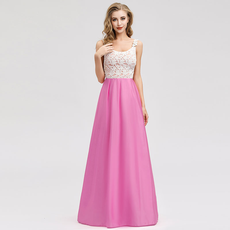 Bridesmaid Dresses A-line Scoop Floor-length Sleeveless Lace Wedding Guest Party Gowns Cheap Long Prom Dress