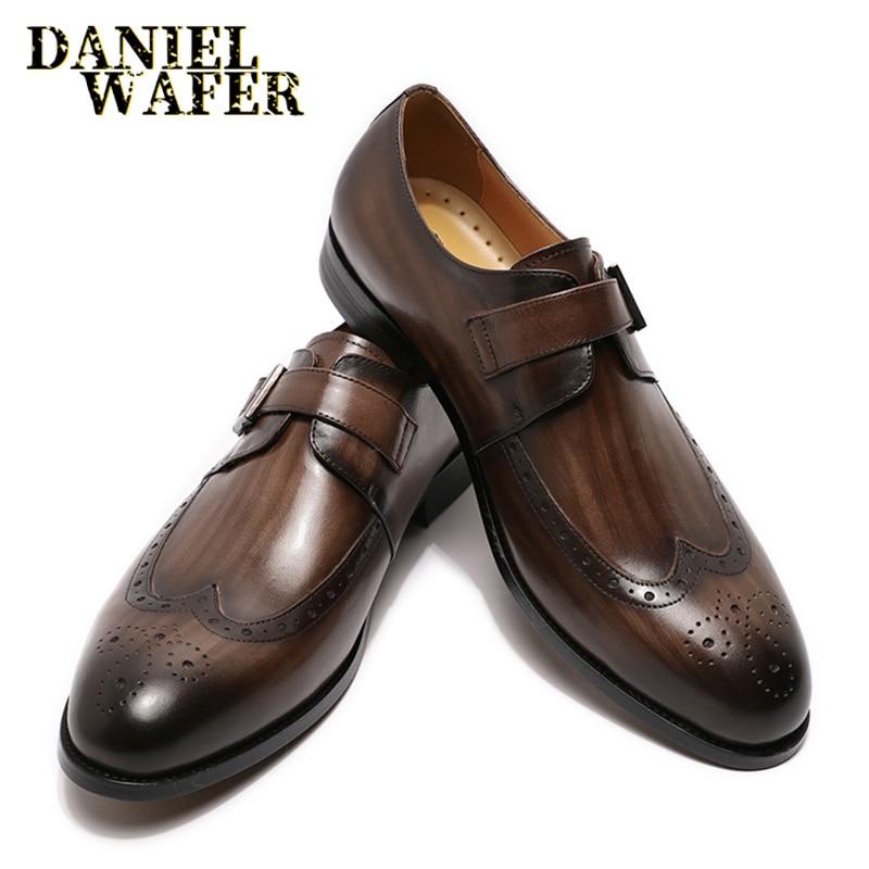 Homens de Luxo Sapatos de Café Vestido de Casamento Sapatos de Couro Fivela Cinta Apontado Sapatos Casuais Mocassins Formal Escritório Toe