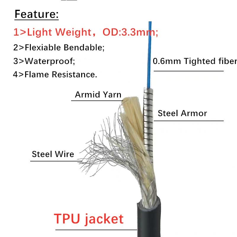 Core 200um 1m Stainless Steel Sleeve Laser Fiber SMA905-SMA905 UV-Visible